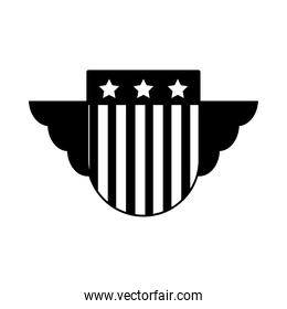 shield with wings and usa flag design, silhouette style