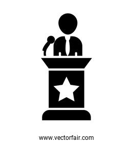 candidate for elections on the podium, silhouette style