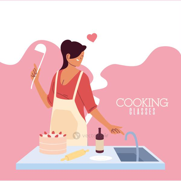 young woman in love cook preparing a cake