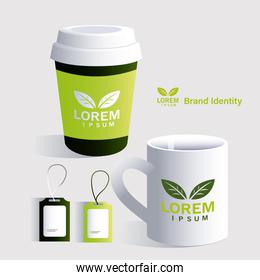 cups and hang tag for elements of brand identity in companies