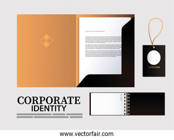 folder and hang tags for elements of brand identity