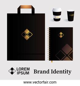 mockup, bag paper and cups for elements of brand identity