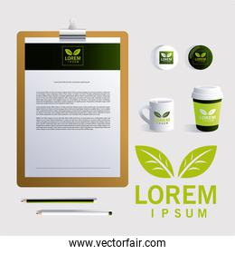 clip board with elements of brand identity in companies