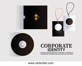 hang tags and CD for elements of brand identity corporation color dark