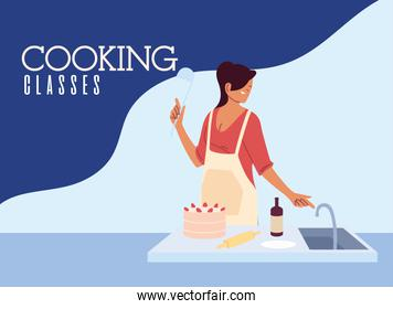 Young woman cook preparing a cake in cooking class