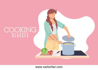 young woman in cooking classes