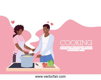 young couple in love cooking with apron, a pot, and kitchen utensils