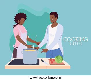 young couple cooking with apron, a pot, and kitchen utensils