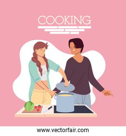 young couple cooking delicious dinner
