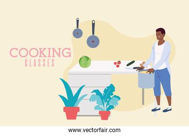 Young man cooking a delicious soup in classes