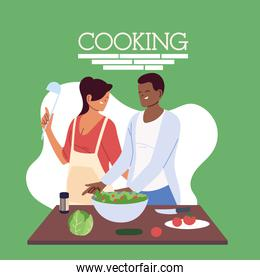 young couple cooking healthy food in the kitchen
