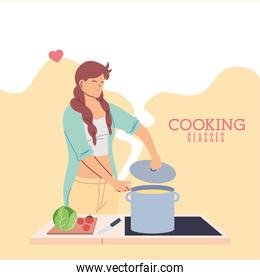 young woman in love in cooking classes