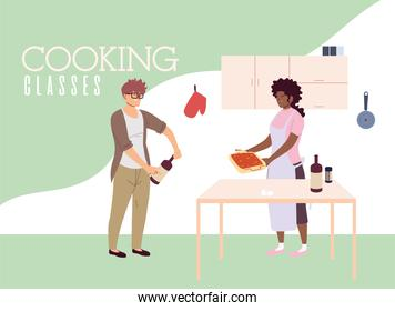 young couple in cooking classes