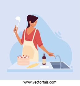 young woman cook preparing a cake