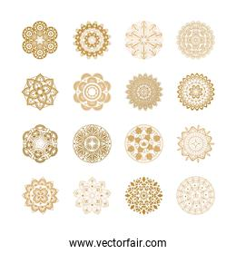 set of golden oriental mandalas or decorations