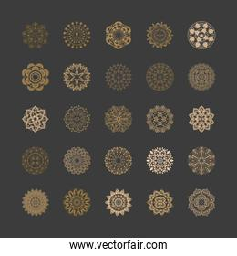 set of golden oriental mandalas or decorations on black background
