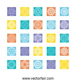 set of gradient mandalas or oriental decorations on white background