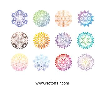 set of gradient mandalas in white background