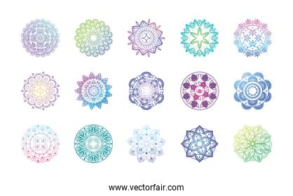 set of gradient mandalas over white background
