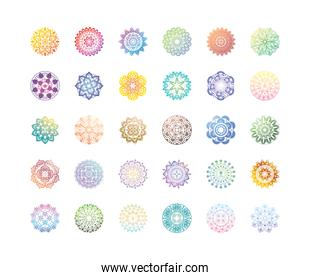 set of gradient mandalas or oriental decorations over white background