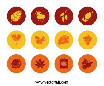 dry leaves and autumn icon set, block style