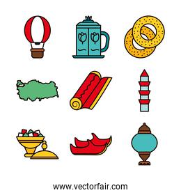 icon set of hot air balloon and turkey country, line and fill style