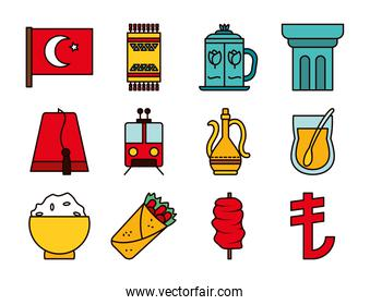 turkey flag and turkish icon set, line and fill style