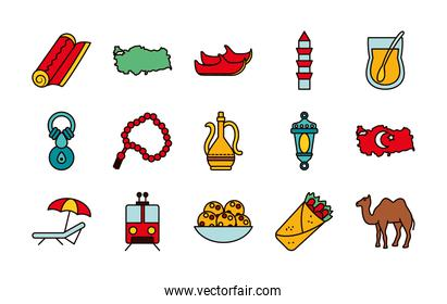 icon set of turkey country and turkish shoes, line and fill style
