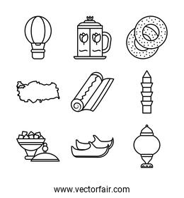 icon set of hot air balloon and turkey country, line style