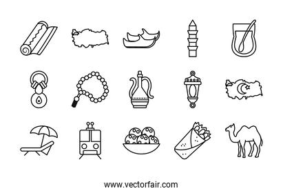 icon set of turkey country and turkish shoes, line style