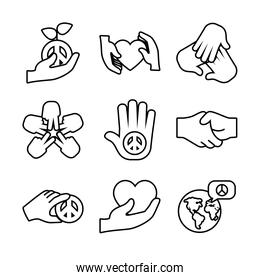 icon set of peace and hands, line style