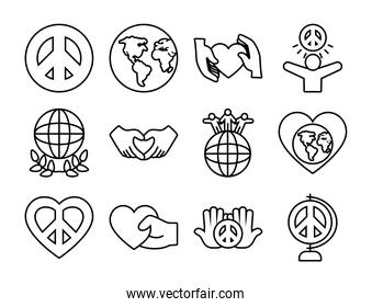 earth planet and peace symbol icon set, line style