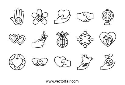 icon set of peace and hearts, line style