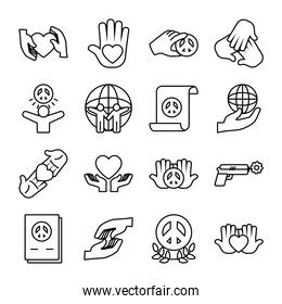 icon set of peace and global sphere, line style