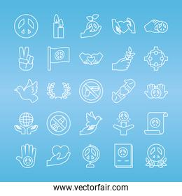 peace and hands icon set, line style