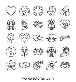 icon set of flowers and peace, line style