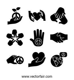 icon set of peace and hands, silhouette style
