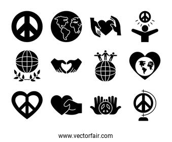 earth planet and peace symbol icon set, silhouette style