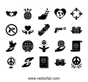 icon set of peace and dove, silhouette style