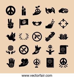 peace and hands icon set, silhouette style