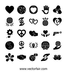 icon set of flowers and peace, silhouette style