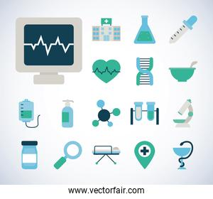icon set of vaccine and cardio monitor, flat style