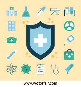 icon set of vaccine and shield, flat style