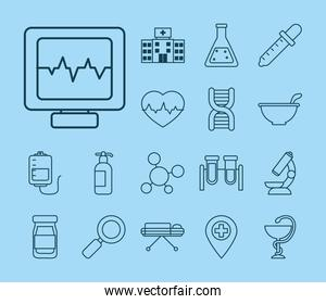 icon set of vaccine and cardio monitor, line style