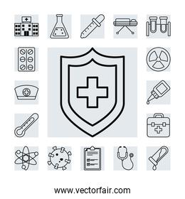 icon set of vaccine and shield, line style