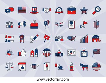 icon set of elections and usa flags, line and fill style