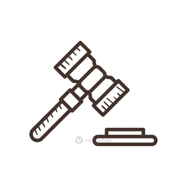 law hammer line style icon vector design