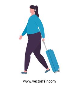 tourist woman walking with luggage