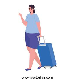 tourist woman walking with luggage in white background