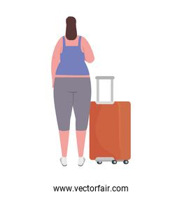tourist woman back with baggage on white background